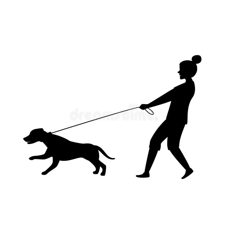 Free Dog Pulling On The Leash Silhouette Vector Royalty Free Stock Photo - 123058955
