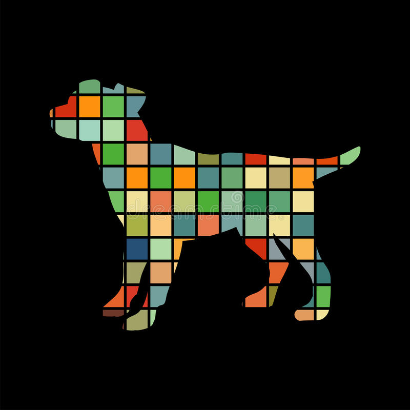 Dog pup pet color silhouette animal vector illustration