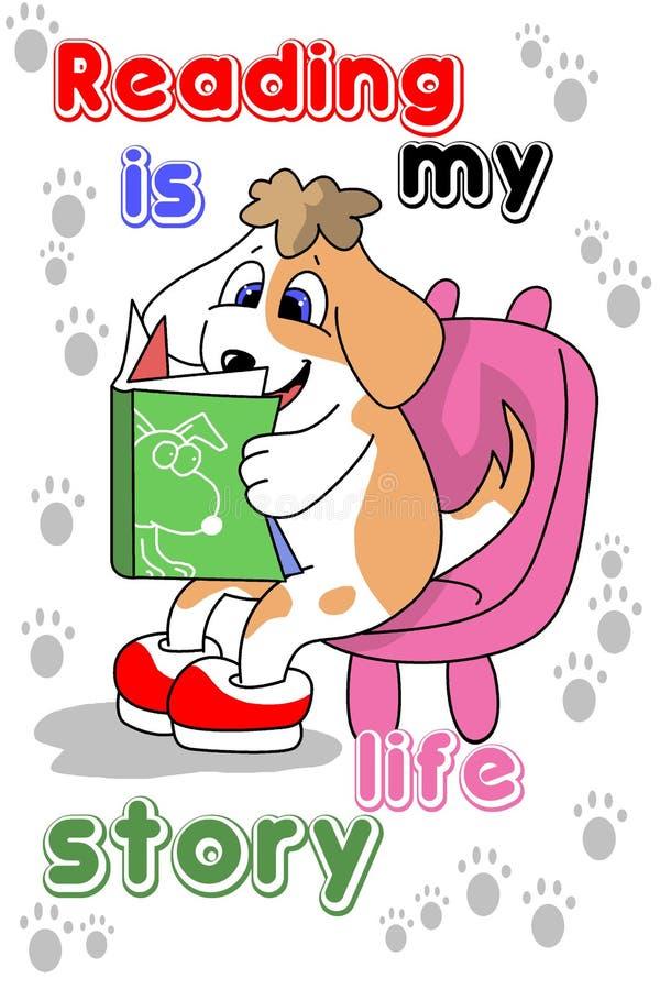 The dog reading a book cartoon royalty free illustration