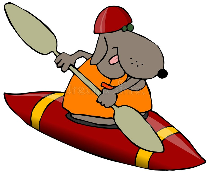 Dog In A Red Kayak Royalty Free Stock Photography