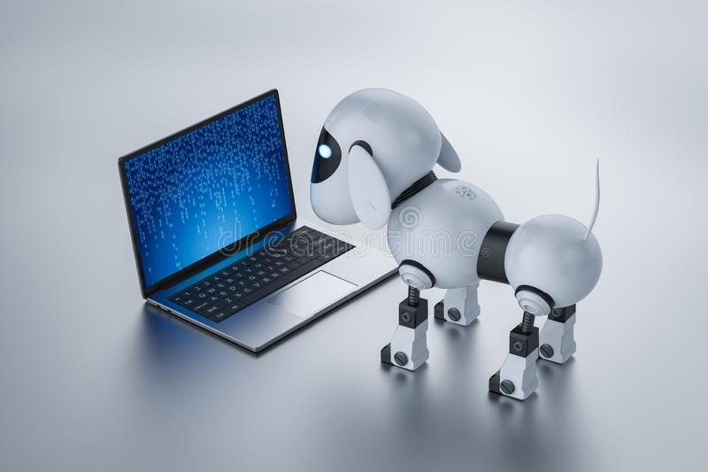 Dog robot with computer notebook. 3d rendering dog robot with computer notebook royalty free illustration