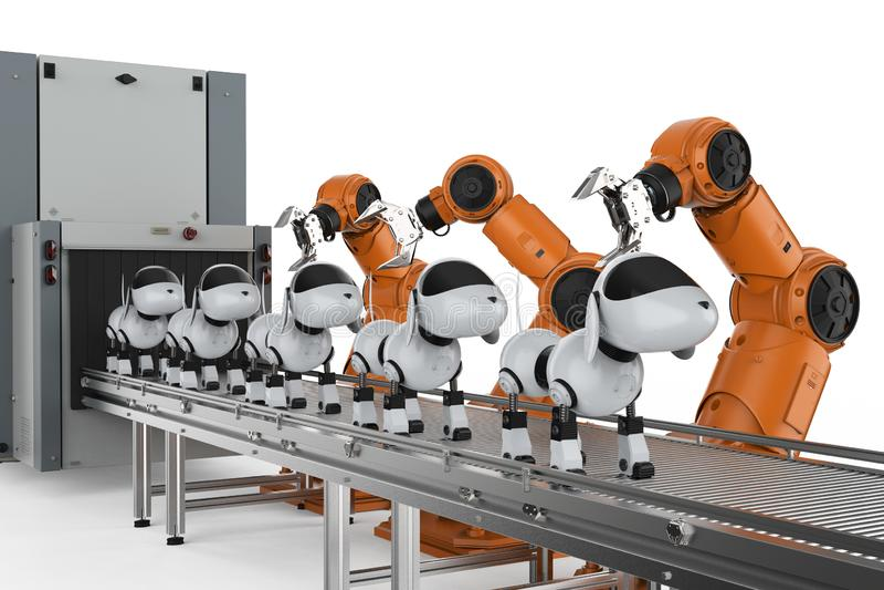 Dog robot production line royalty free illustration