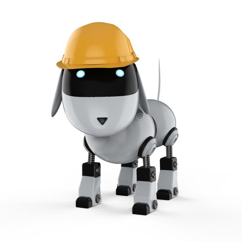 Dog robot with yellow helmet vector illustration