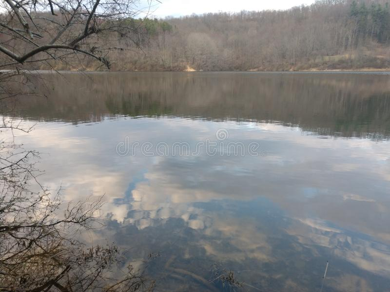 Dog Run Lake in late March. Dog run lake late march. We are fishing in Harrison County West Virginia, off route 50, near Salem stock photos