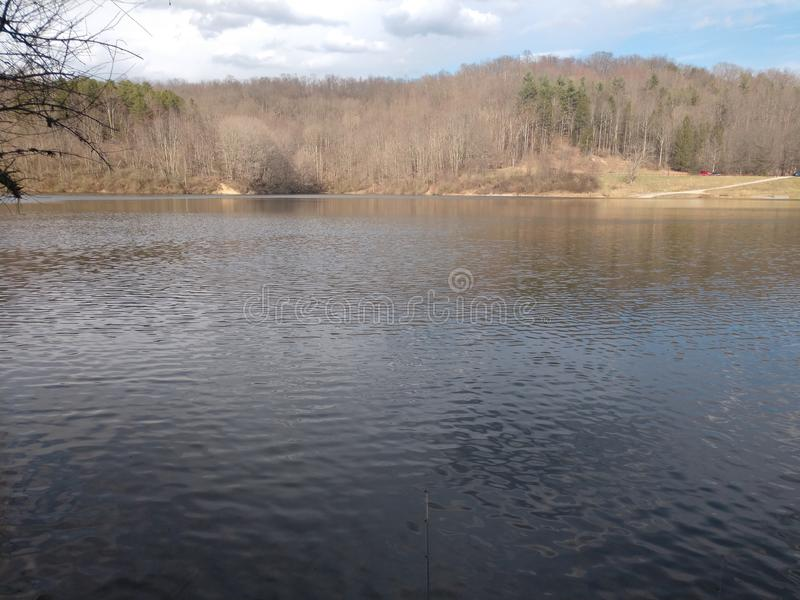 Dog Run Lake in late March. Run walk near lake late march. We are fishing in Harrison County West Virginia, off route 50, near Salem royalty free stock photography