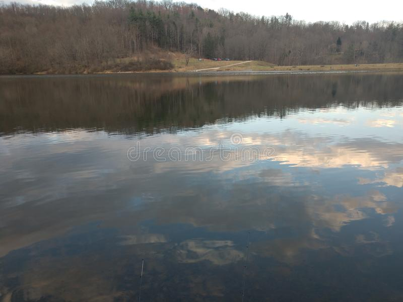 Dog Run Lake in late March. Run walk near lake late march. We are fishing in Harrison County West Virginia, off route 50, near Salem stock photography
