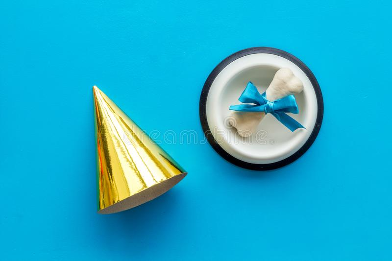 Dog`s birthday concept. Chewing bones with bow and party hat on blue background top view royalty free stock image