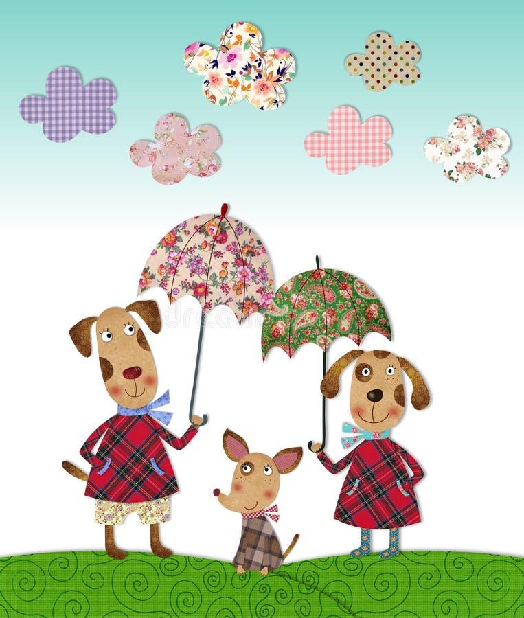 Dog's family. Colorful graphic illustration. Quilt design stock illustration