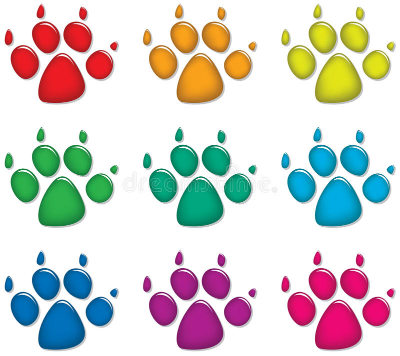 Download Dog's foot prints stock vector. Image of orange, image - 21006457