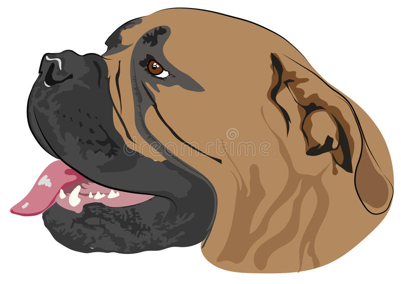 The dog`s head with open mouth -. Illustration vector illustration