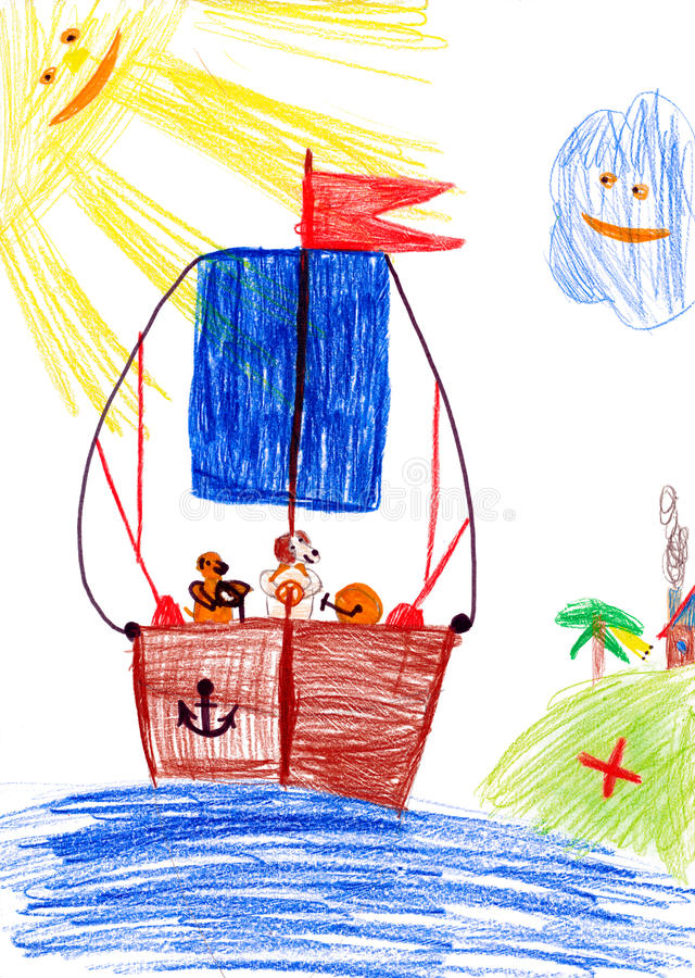 Dog on sailboat. child's drawing. Dog on sailboat. childs drawing on paper stock photography