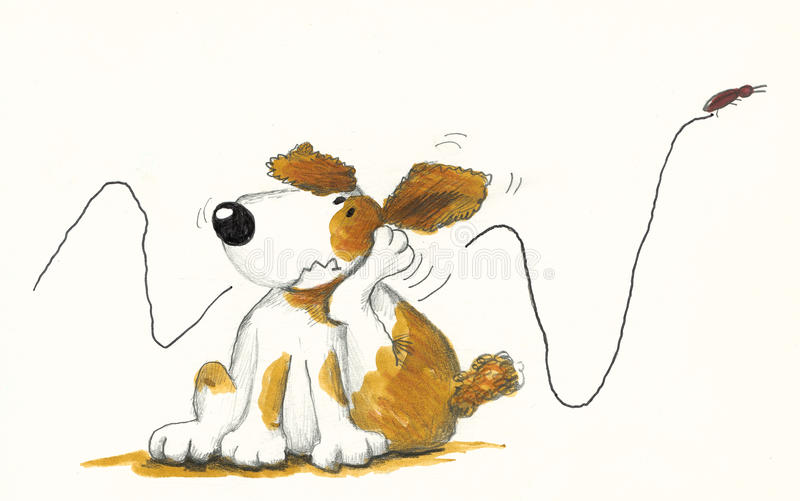 Dog Scratching. Hand made illustration of dog Scratching