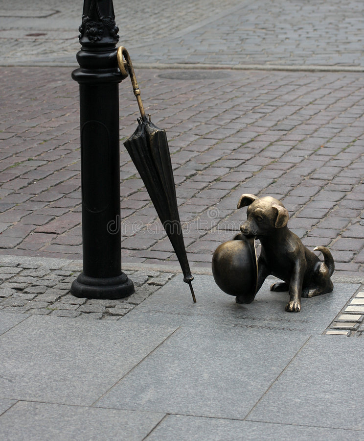 Download Dog sculpture in torun stock photo. Image of umbrella - 6127332