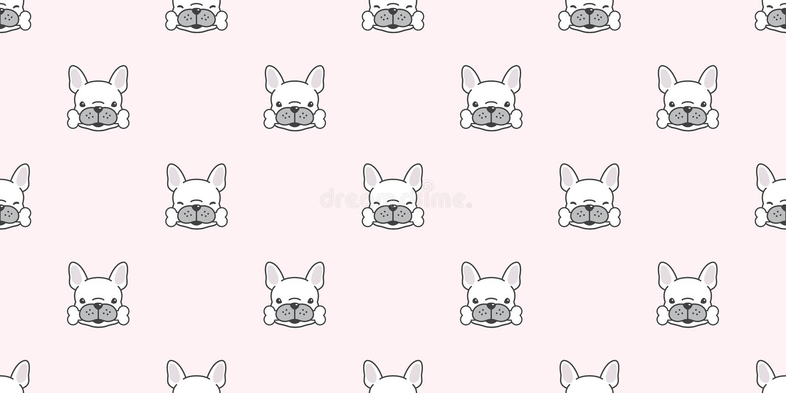 Dog seamless french bulldog vector pattern bone paw isolated breed wallpaper background pink. Dog seamless french bulldog vector pattern bone paw isolated breed royalty free illustration