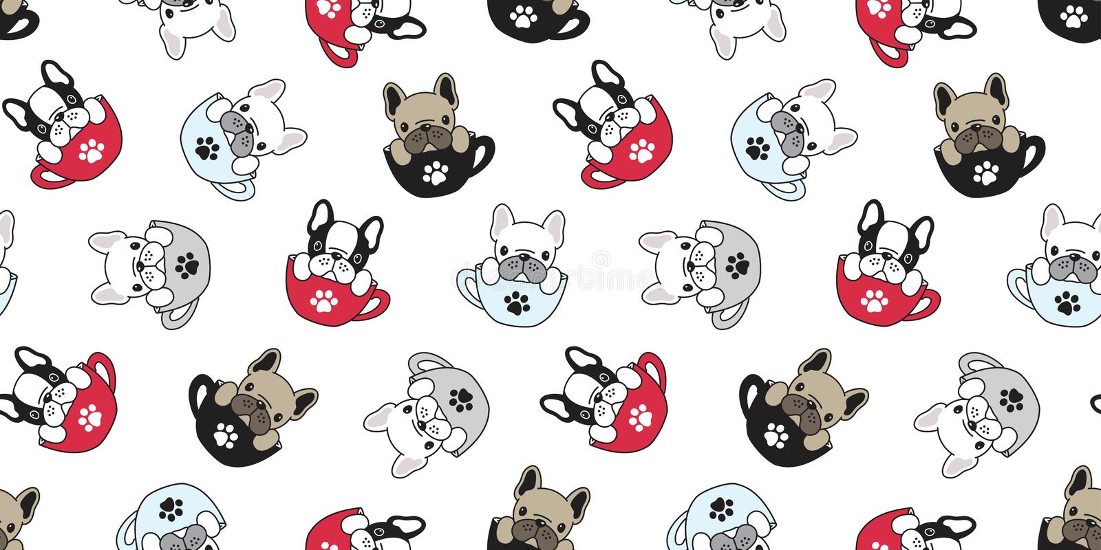 Dog seamless pattern french bulldog vector pug isolated cup background puppy cartoon wallpaper. Dog seamless pattern french bulldog vector pug isolated cup tile stock illustration