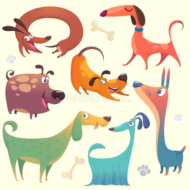 Cartoon dogs set. Vector illustrations of dogs. Retriever dachshund terrier pitbull spaniel bulldog basset hound afghan hound, borzoi stock illustration