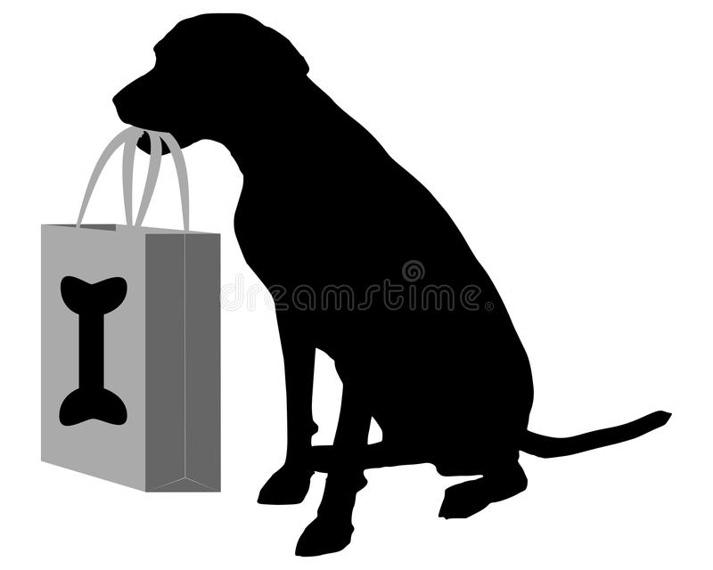 Download Dog shopping bones stock vector. Image of isolated, paper - 28604537