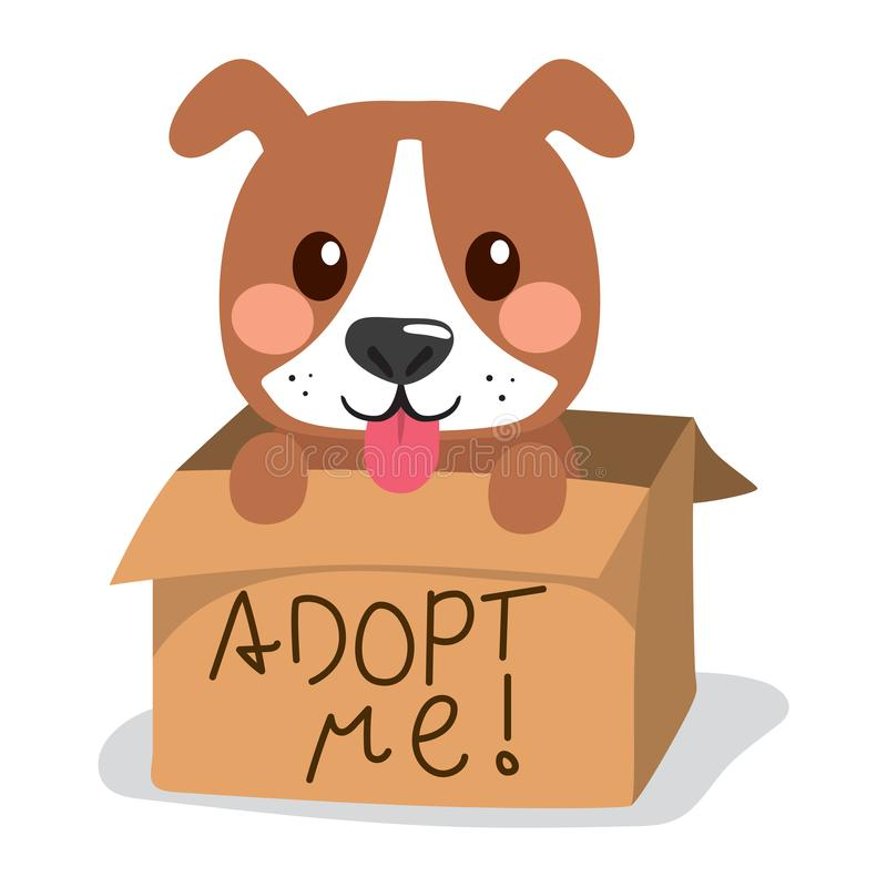 Dog Showing Tongue. Cute little dog showing tongue inside cardboard box with adopt me text vector illustration