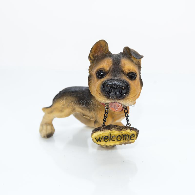 Dog showpiece made by fiber. Fiber or fibre see spelling differences, from the Latin fibra is a natural or synthetic substance that is significantly longer than royalty free stock photography