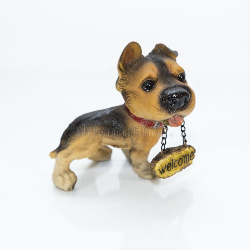 Dog showpiece made by fiber. Fiber or fibre see spelling differences, from the Latin fibra is a natural or synthetic substance that is significantly longer than stock photo