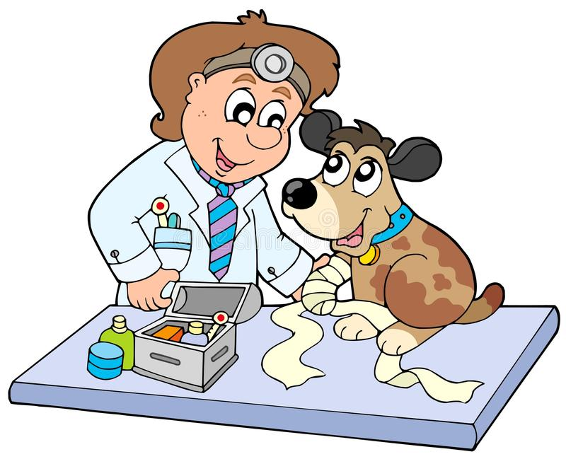 Dog with sick paw at veterinarian. Illustration