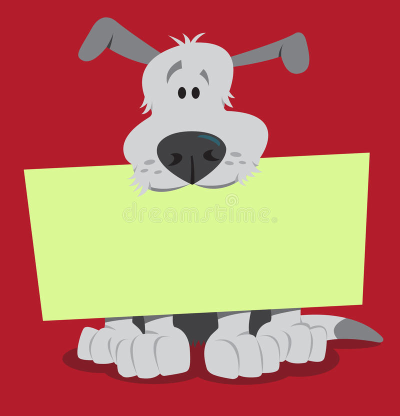 Dog with sign. Dog sitting and holding blank sign in mouth vector illustration