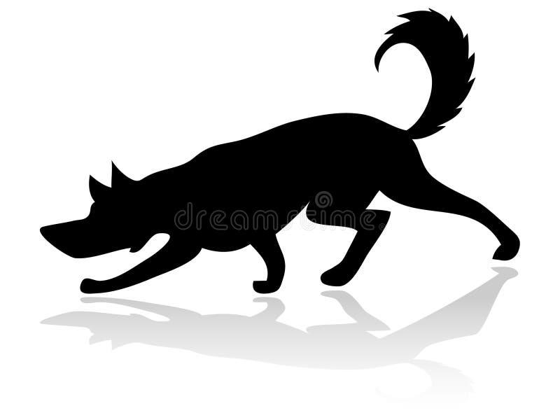 Dog Silhouette. Illustration Dog Silhouette White Background stock illustration