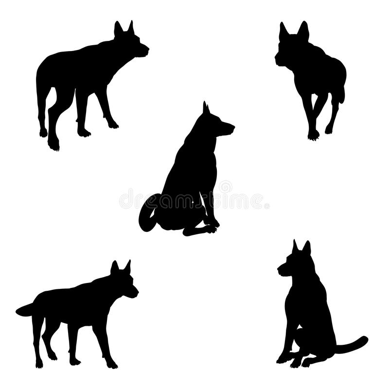 Download Dog Silhouettes - 2 stock illustration. Image of sitting - 15683900