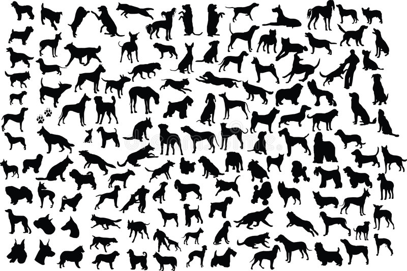 Dog silhouettes royalty free illustration
