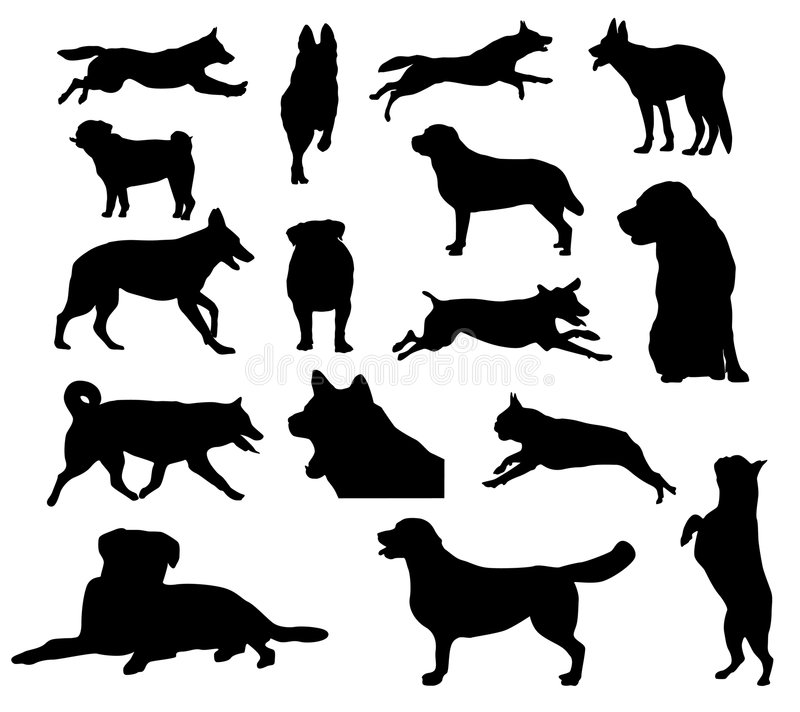Download Dog silhouettes stock vector. Image of german, canine - 9020001
