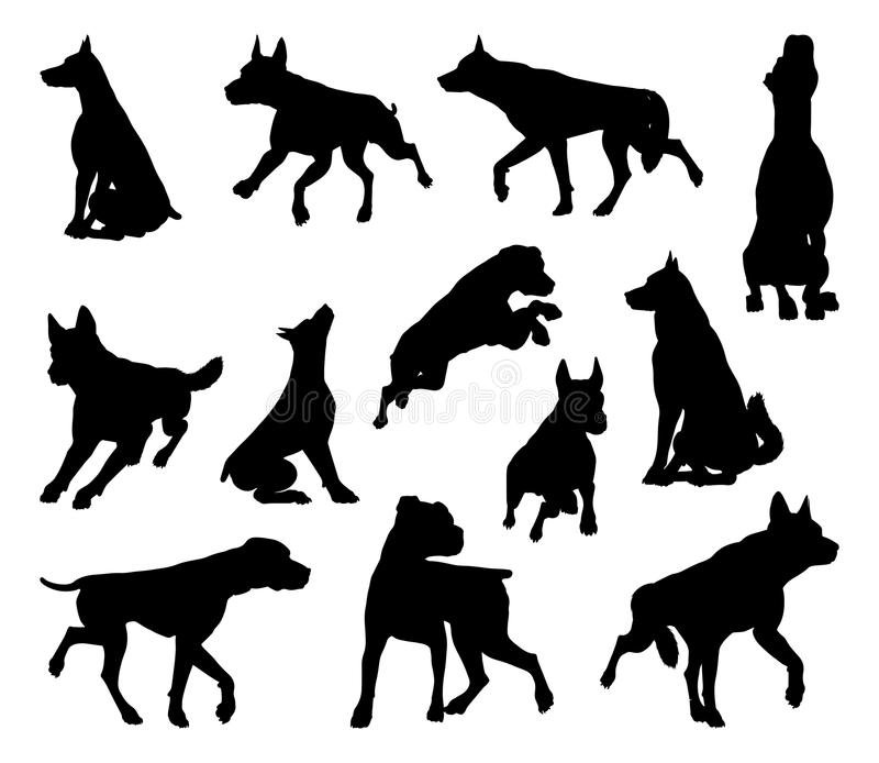 Dog Silhouettes Animal Set. A set of detailed animal silhouettes of a pet dog stock illustration