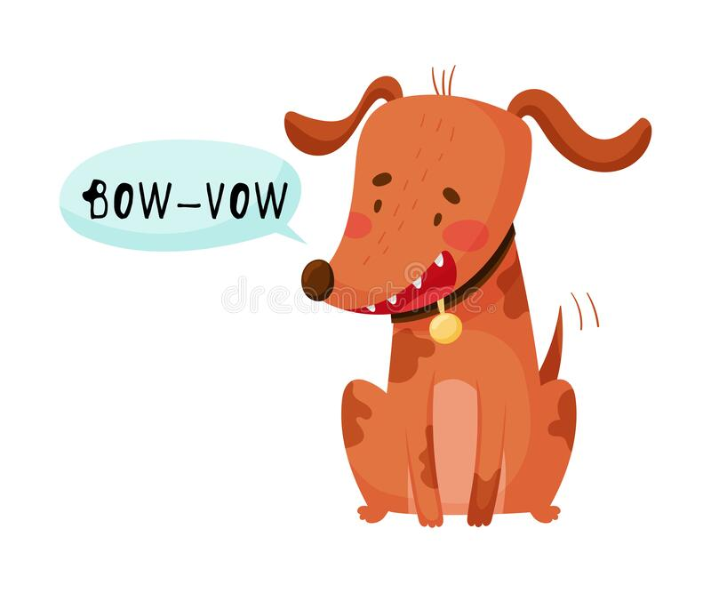 Dog Sitting With Open Mouth Making Bow Wow Sound Isolated On White Background Vector Illustration Stock Vector Illustration Of Communication Onomatopoeia 185611216