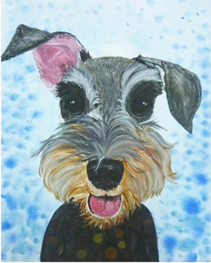 Dog smile art. Schnauzer dog smile art watercolor royalty free illustration