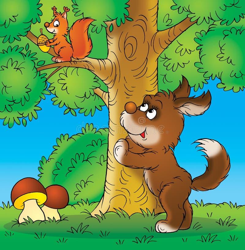 Dog and squirrel. Children's illustration for yours design, postcard, album, cover, scrapbook, etc