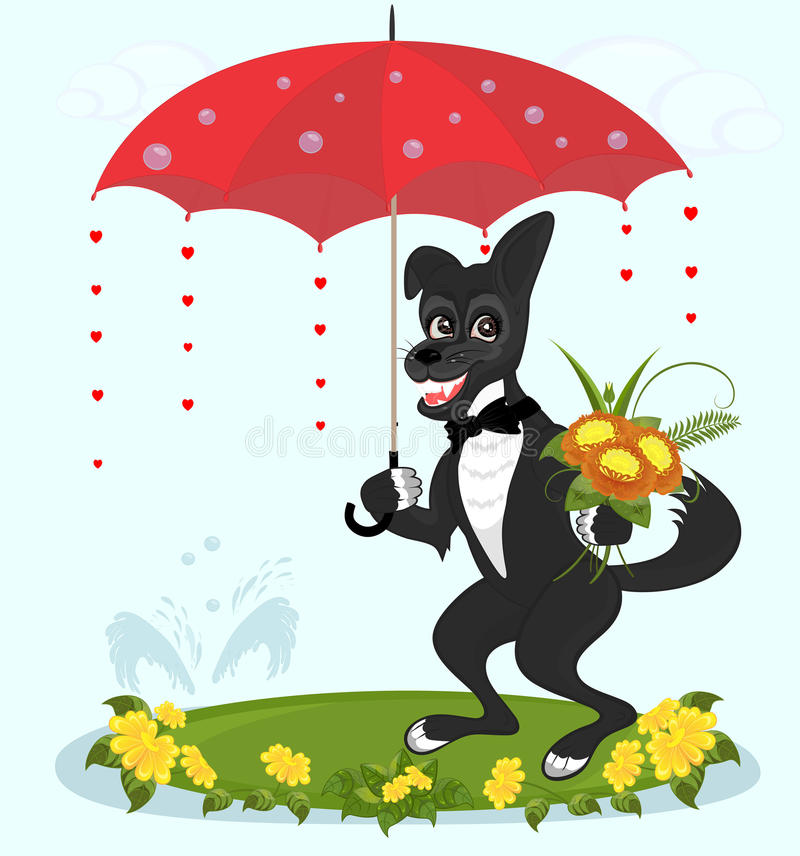 The dog stands under the umbrella with flowers. Happy dog standing under a red umbrella with a bouquet of flowers royalty free illustration