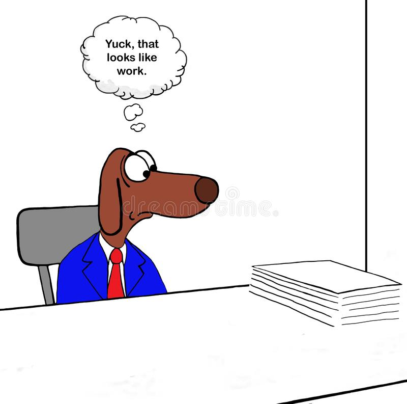 Dog is stressed by work royalty free stock photography
