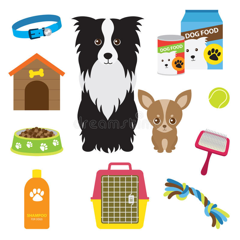 Dog Supplies. Illustration of supplies for dog