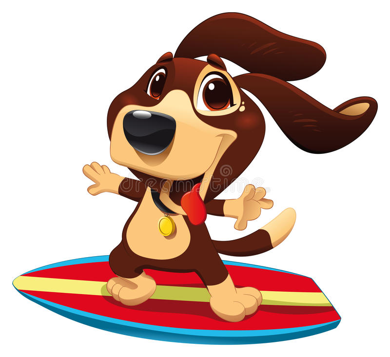 Dog with surf. Funny cartoon and sporty character stock illustration