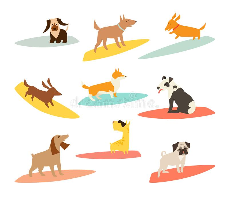 Dog surfers set, vector cartoon illustrations stock illustration