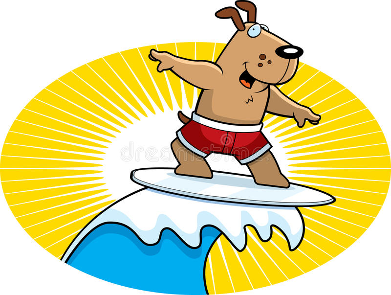 Dog Surfing vector illustration