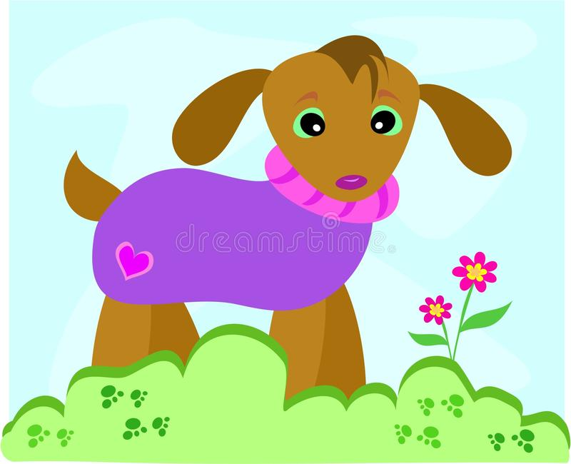 Dog in Sweater. Here is a cute Dog with a purple sweater, standing in a garden stock illustration