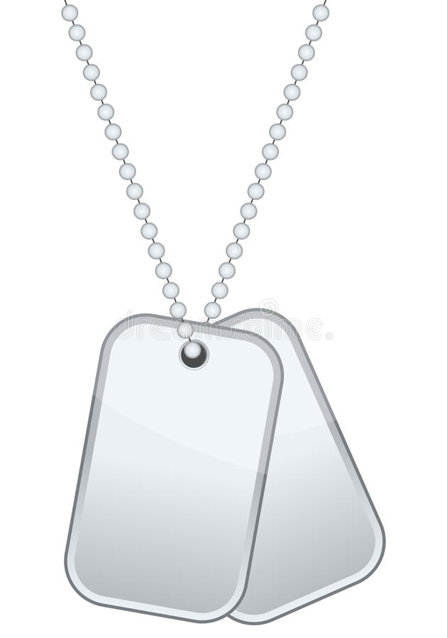 Dog Tags or Identity Plates. With copy space, isolated on white background. Eps file available royalty free illustration