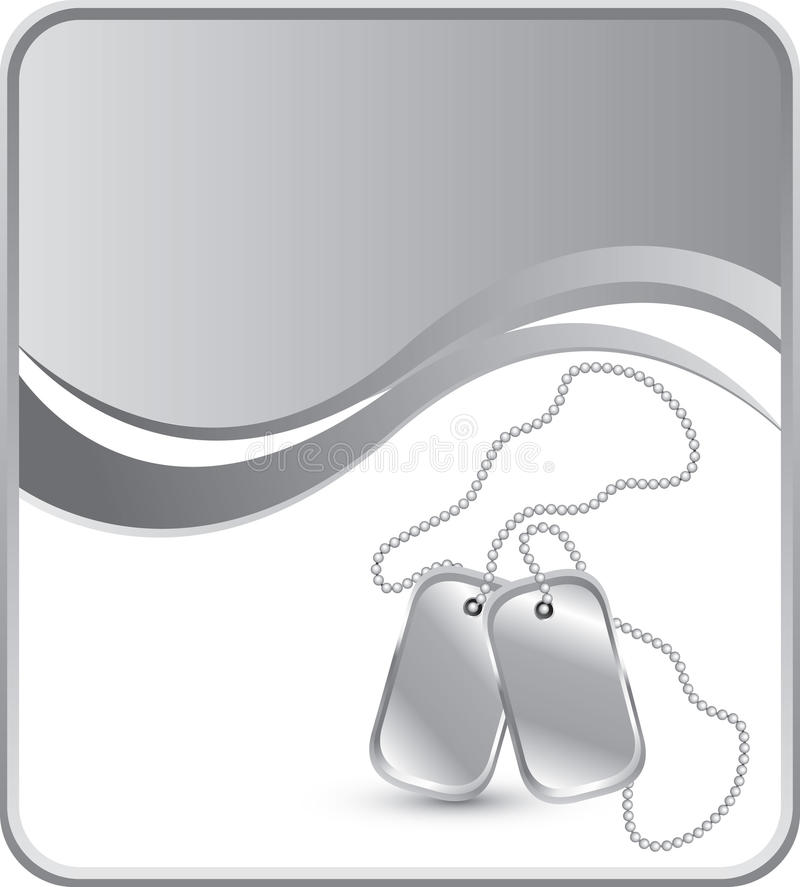 Dog tags on silver wave background royalty free illustration