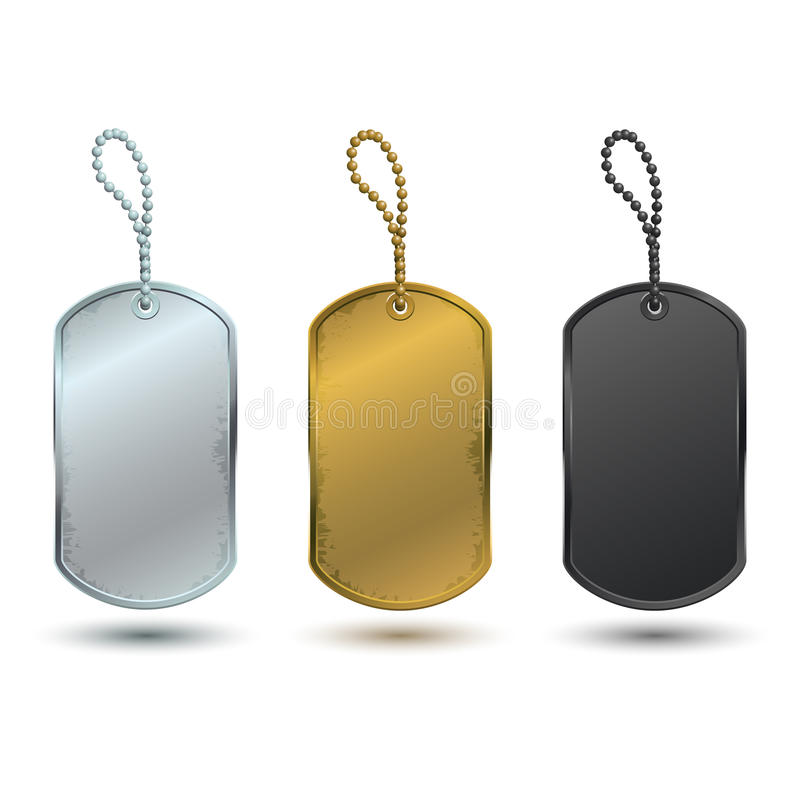 Dog tags. In vector on white background vector illustration
