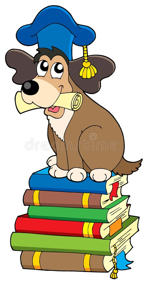 Free Dog Teacher On Pile Of Books Royalty Free Stock Photography - 7413087