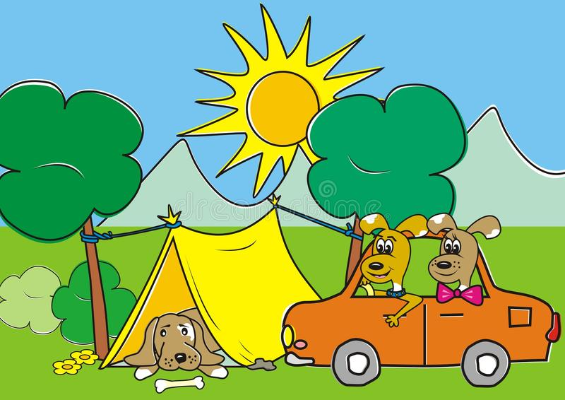 Dog and tent stock illustration