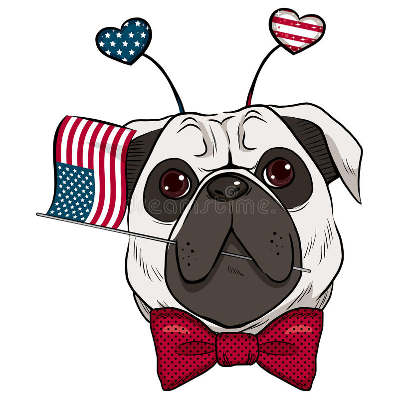Dog 4th Of July royalty free illustration