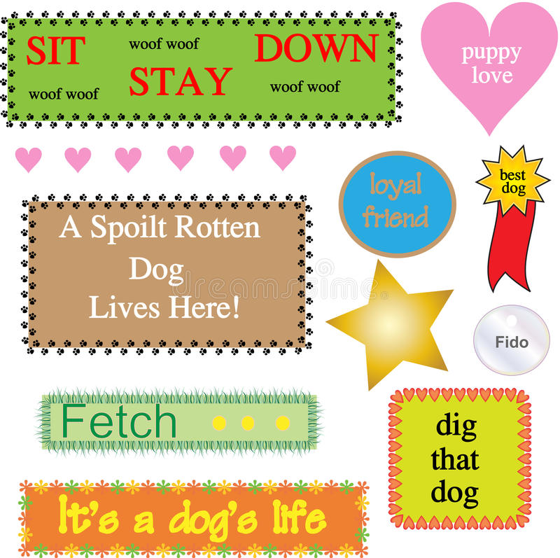Dog Themed Graphics / Icons Stock Images