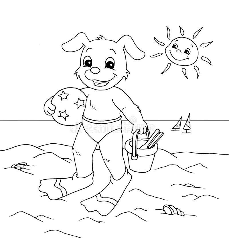 Download Dog To The Sea - Black And White Stock Illustration - Image: 12805687