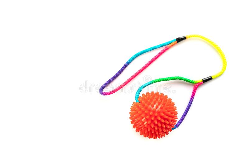 Dog toy. Ball with colorful cotton rope for games isolated on white background with copy space stock photography